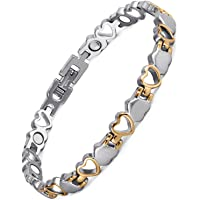 Rainso Titanium Heart Design Magnetic Health Bracelet for Women Pain Relief for Arthritis