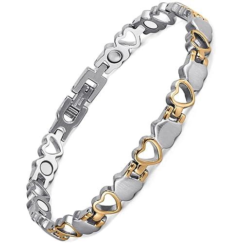 1256a9d6a925 Pulsera magnética de titanio para mujeres Rainso, diseño de ...