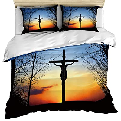 Partyshow Luxury 3 Piece Duvet Cover Bedding Set Queen Size, A Man is Crucified at Sunset Zippered Comforter Cover Set Includes Quilt Cover, Pillow Cases for Kids/Teens/Adults: Home & Kitchen