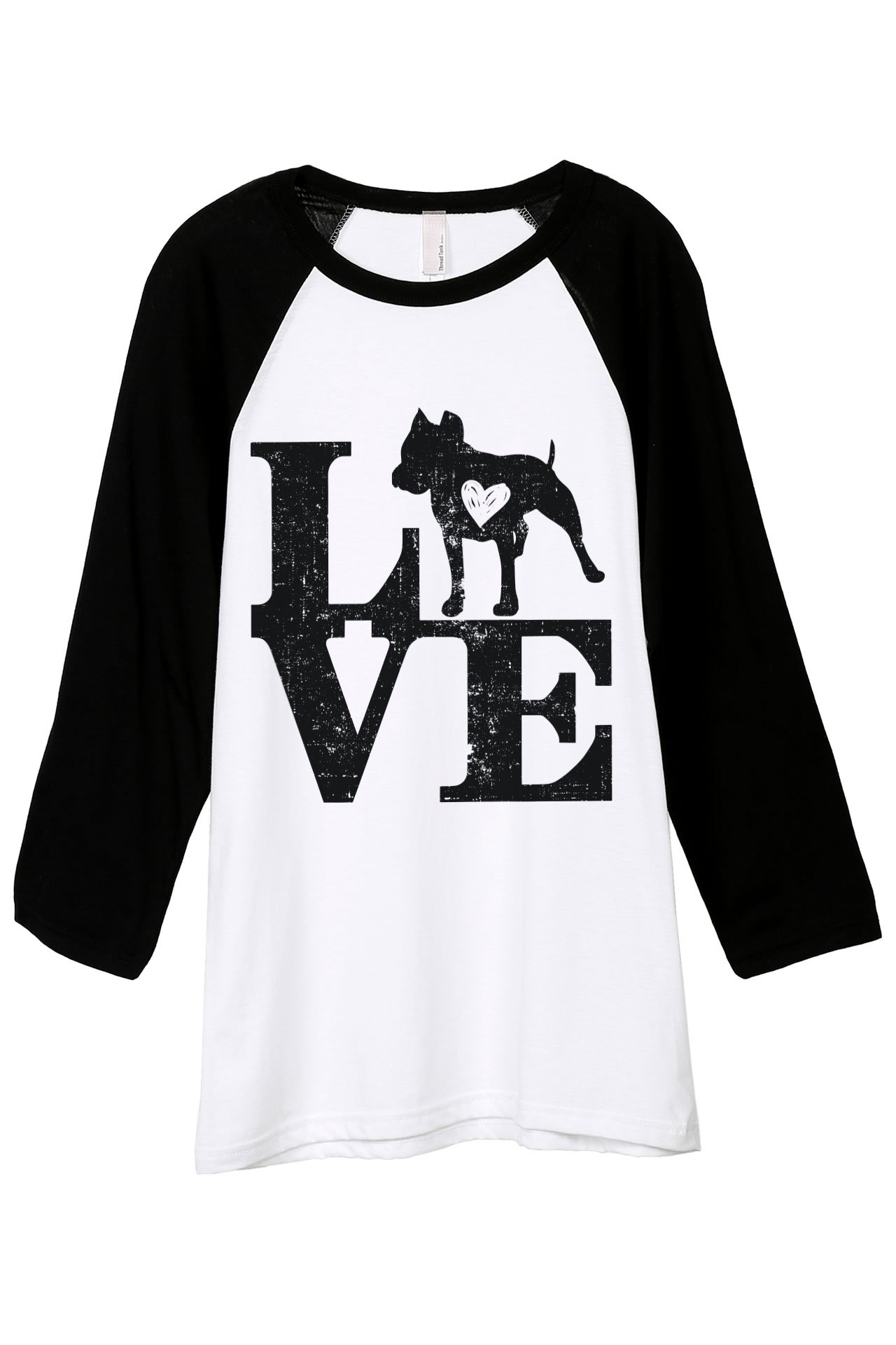Love Pit Bull Dog Unisex 3/4 Sleeves Baseball Raglan T-Shirt Tee White Black 2X-Large