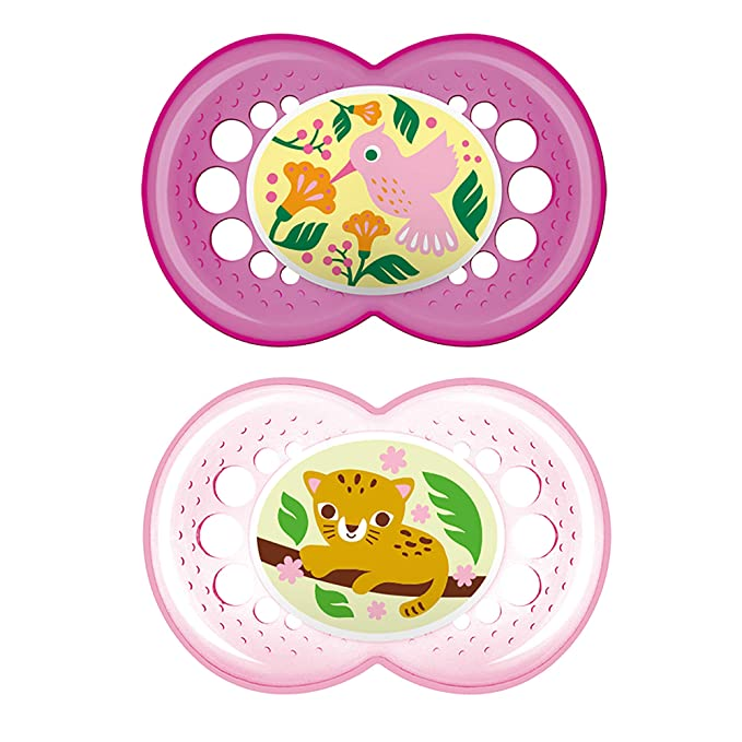 Months MAM Baby Girls CRYSTAL Soother Dummy Pack of 2 Pink Colours Age 0