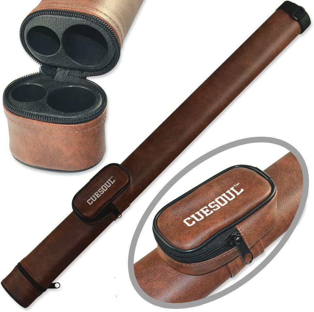 1x1 Brown Pool Cue Case Oval w// Solid Tubes