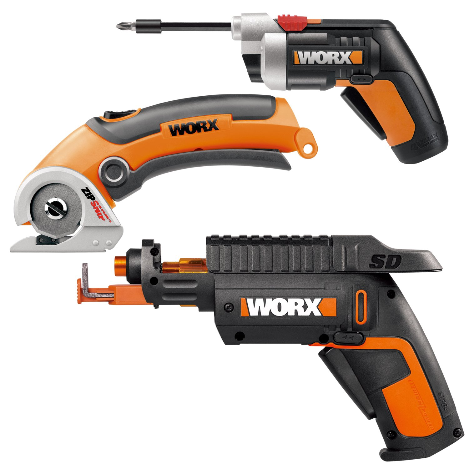 WORX WO7037 Combo Kit - WX255L SD Driver, WX081L Zip Snip, and WX252L Extended Reach Screw Driver