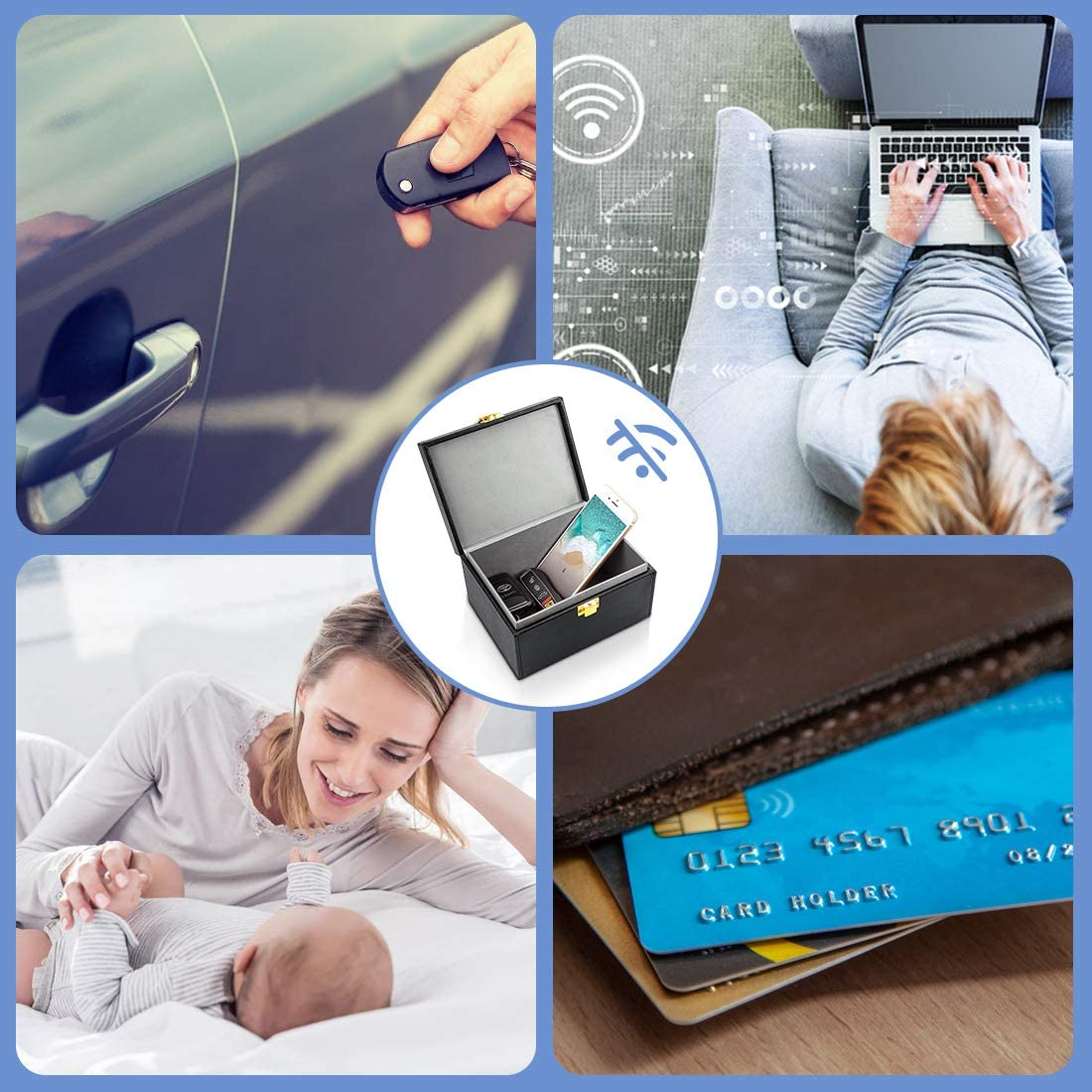 Keyless Entry Car Key Safe Protector,RFID Anti-Theft Signal Blocking Cages Samfolk Faraday Box And Pouch 2 Pack