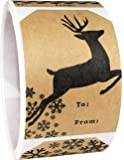 Natural Kraft Gift Tags Holiday Present Stickers 4 Different Designs 2 x 3 Inch 100 Total Labels
