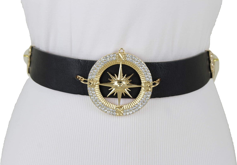 Women Gold Metal Chain Compass Bling Buckle Black Hot Belt Hip Waist Size XS S M