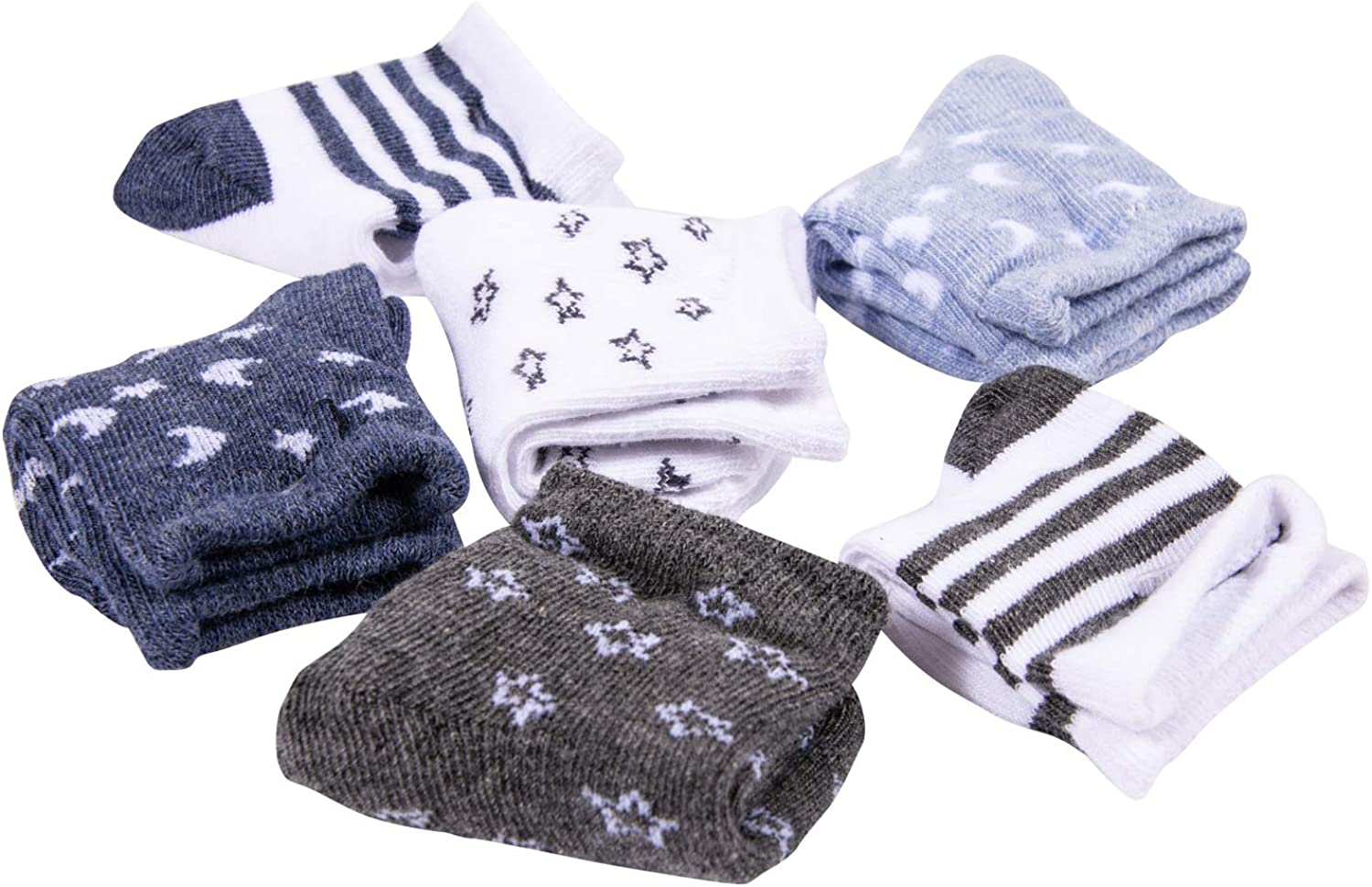 aden anais Infant Boys Socks 6 Pairs of Combed Cotton Rich Crew Socks With Silicone Grippers Luna, 0M-6M