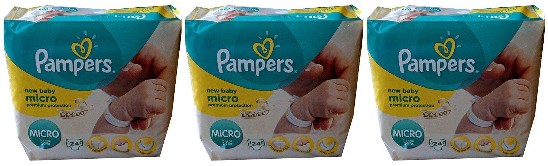 NUEVO con indicador de orina, 3 x 24 (72) PAMPERS Pañales Micro, New Baby, 1 - 2,5 kg especialmente Adecuado para bebés prematuros: Amazon.es: Salud y ...