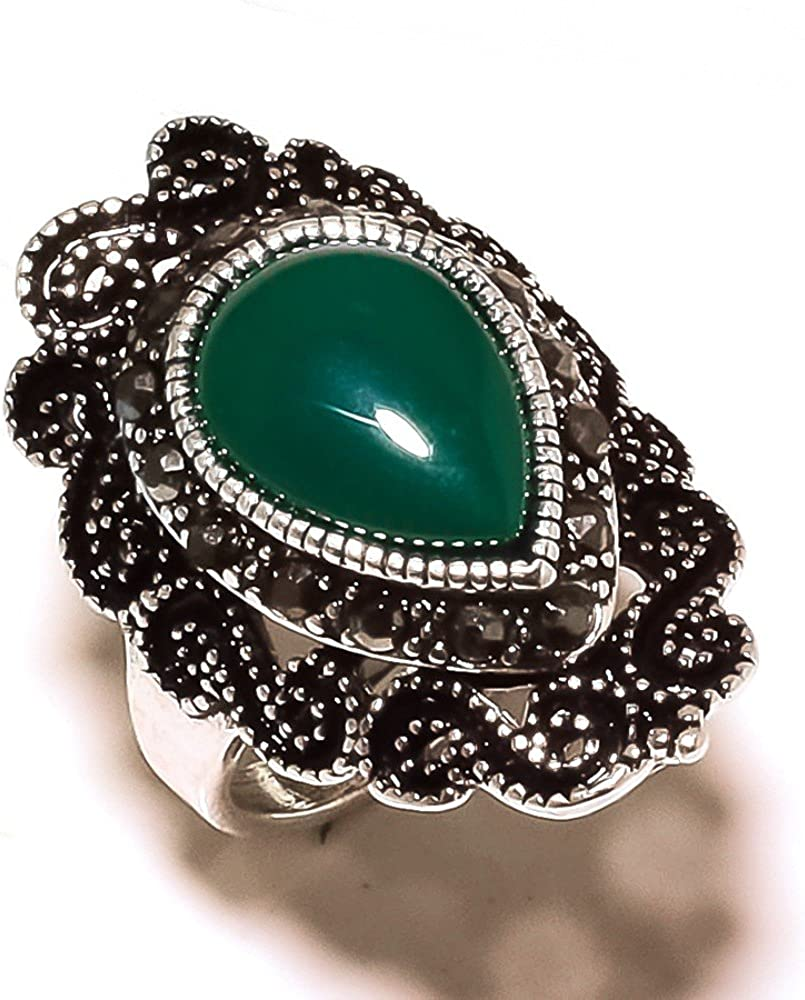 Marks Design Fancy Green Onyx Sterling Silver Overlay 9 Grams Oxidized Ring Size 7.75 US