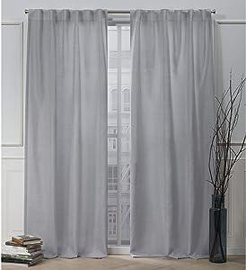 Nicole Miller Faux Linen Slub Hidden Tab Top Curtain Panel, Dove Grey, 54x84, 2 Piece