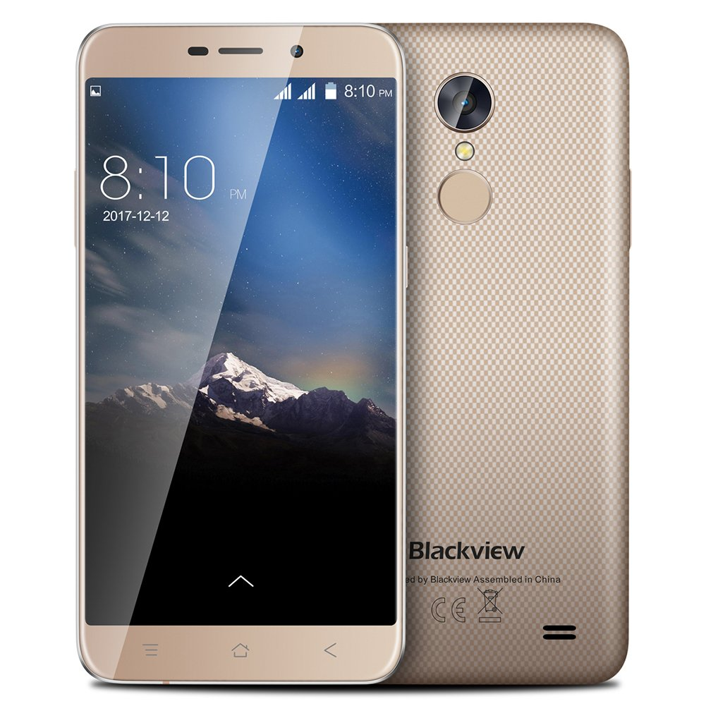 Mobile Phones Unlocked Blackview A10 5.0 Inch HD Smartphone MTK6580A QuadCore Screen 2GB RAM 16GB ROM Run Fast Phone Rear Touch ID 3G Phone Gold