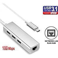 TERSELY USB HUB 3.1 Type C to 3 Port with Network RJ45 Ethernet LAN Port Aluminum Portable Data Transfer Hub with 100 Mbps Adapter USB-C for for MacBook Pro 2016 Chromebook Xps PC MAC