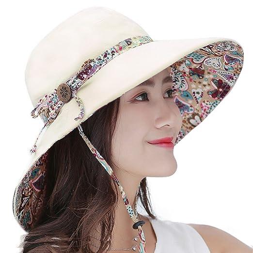 3e7909032 HUAMULAN Women Wide Brim Reversible Sun Hat Summer Floral Cap UPF 50+ Chin  Cord