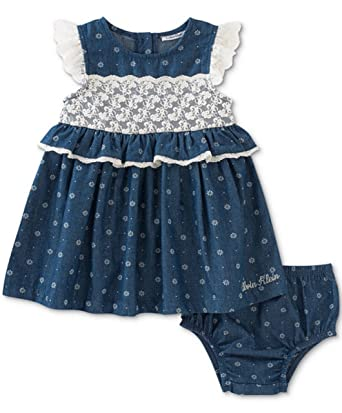 232b439bf3 Amazon.com  Calvin Klein Baby Girls  Lace   Denim Dress Blue (18 ...