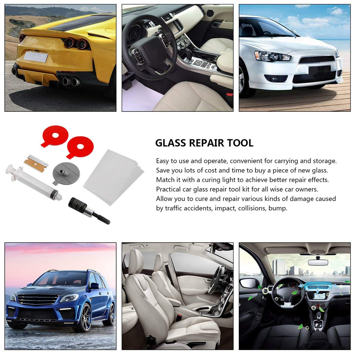 Car Windscreen Glass Repair Tools Auto Windshield Window Polishing Kit Chip Crack Star Bullseye DIY Set Car Accessories