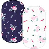 TILLYOU Microfiber Floral Bassinet Sheets for Girls, 32''x16'' Flexible for Different Cradle and Bassinet Mattress, Silky Sof