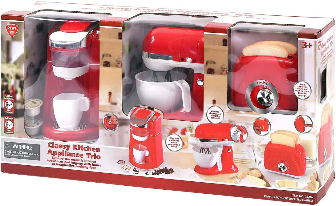 PlayGo Kitchen Appliances Child Coffee Maker, Mix Master and Toaster Pretend Coffee Machine - My First Kitchen Appliance for Toddlers - Multipurpose Set