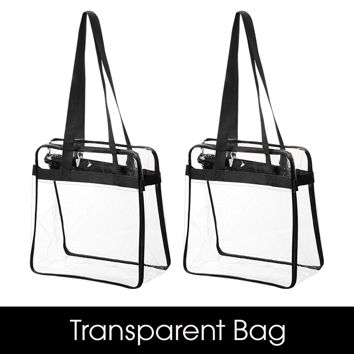 """Bag Boss Clear Tote Bag NFL & PGA Stadium Approved - Shoulder Strap and Zipper Closure Great For Games, Sports & Work (12"""" X 12"""" X 6"""")"""