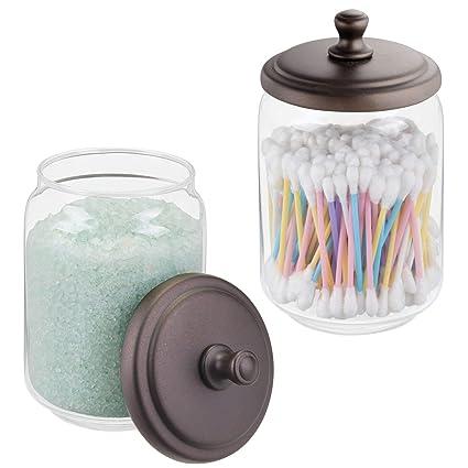MDesign Farmhouse Decor Metal Glass Bathroom Vanity Storage Organizer  Canisters Jars Cotton Swabs, Rounds,