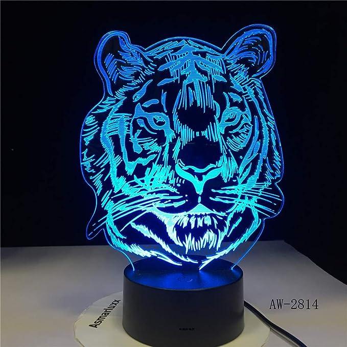 BFMBCHDJ Infantil Nuevo Tiger Head Cartoon 3D LED RGB Night Light ...