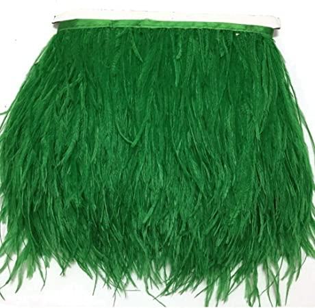 Green MELADY 10 Yards Fashion Dress Sewing Crafts Costumes Decoration Ostrich Feathers Trims Fringe with Satin Ribbon Tape