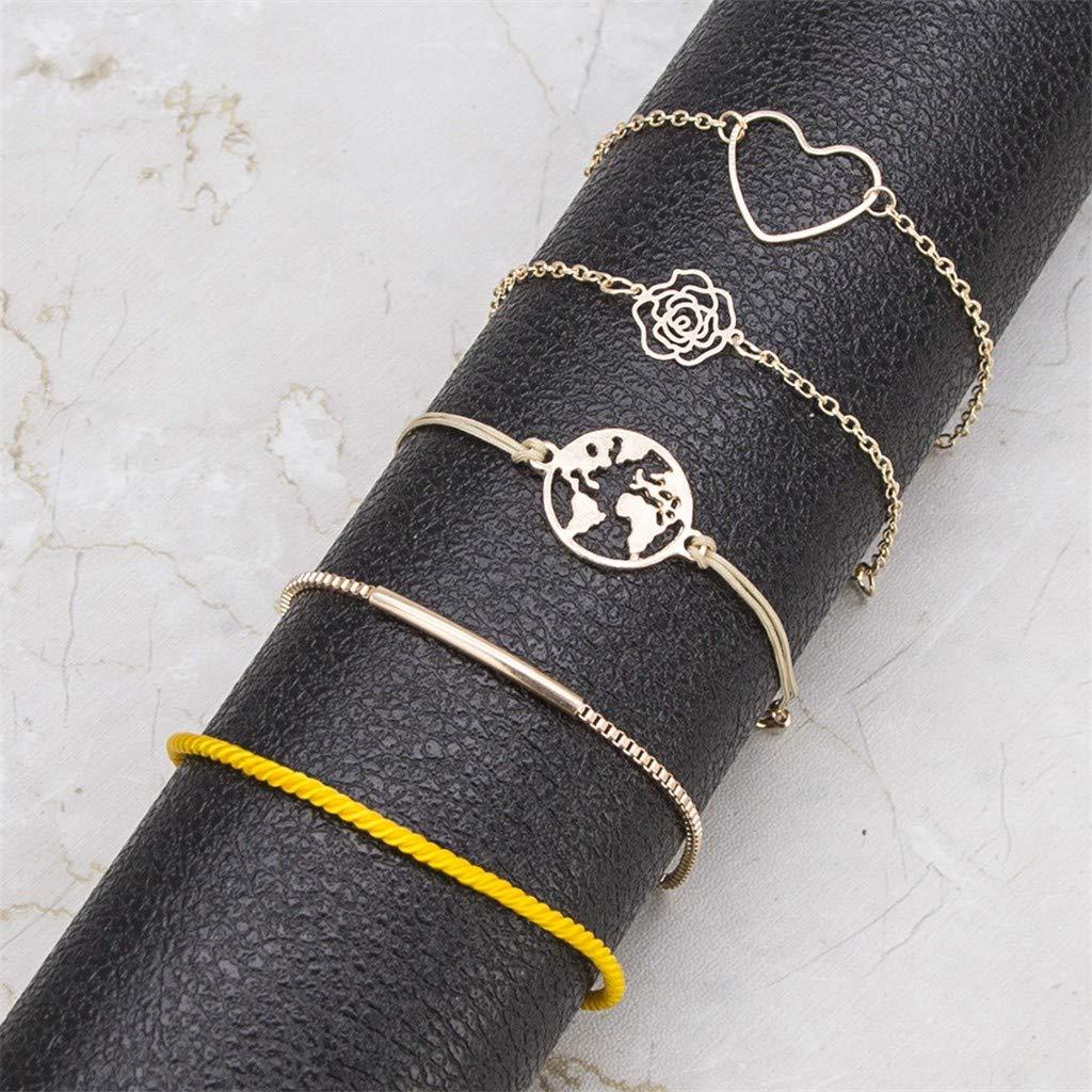 Arbeiten Sie einfache Armband unregelm/ä/ßige Form Quasten Damen Armband Set h/öhlte TOWAKM Armb/änder