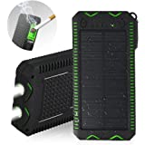 Solar Charger,External Backup Battery,with Dual USB Ports,2LED Flashlights,Carabiner and Compass,Charging for Smartphones,iPad,Tablet,Camera (Black and Green(Upgrade))