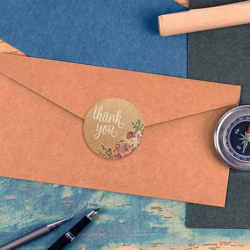 Dia : env.2,5cm Mariage Cadeau ou Enveloppe Luminiu 500pcs Feuilles de Rond Thank You Autocollants