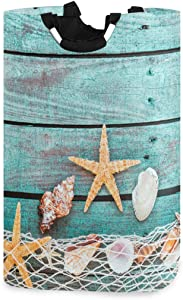 Shells Starfish Large Laundry Basket Fishing Net Blue Wood Collapsible Laundry Hamper with Handles Waterproof Durable Clothes Washing Bin Dirty Baskets Storage for Home College Dorm Bathroom 50L
