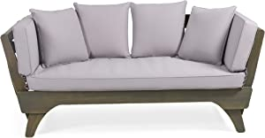 Christopher Knight Home 312938 Norman Outdoor Acacia Wood Expandable Daybed with Water Resistant Cushions, Gray and Dark Gray