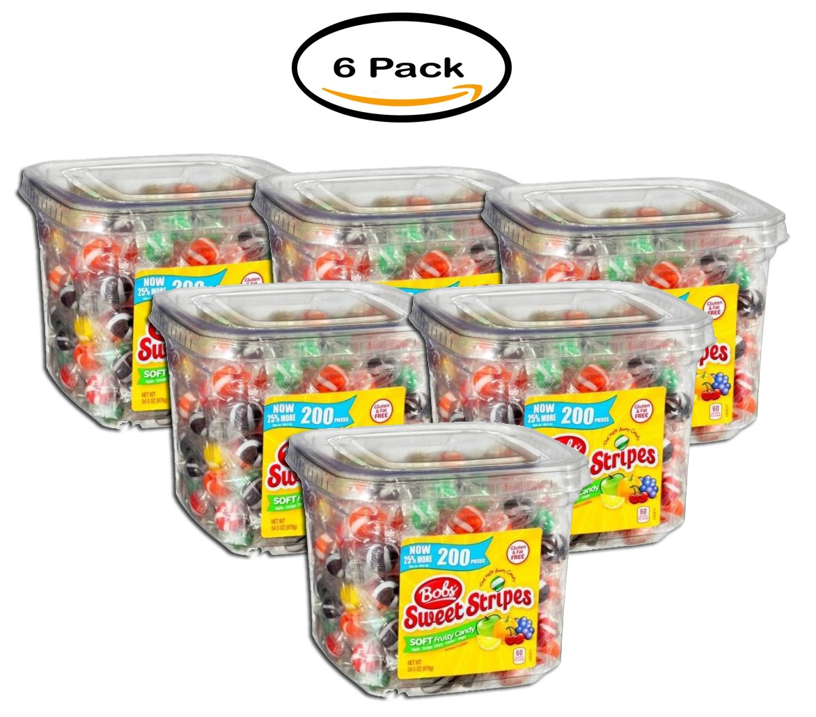 PACK OF 6 - Bob's Sweet Stripes Soft Fruit Candy, 34.5 oz (200 count)