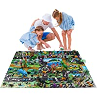 Max Fun Dinosaur Toys Play Mat, 88 pcs Educational Toys of Dinosaurs Toys, Wild Animals, Marine Organisms, Trees, Road Signs, Cars and Walking Dinos with Moving Jaws for Kids Party Favors