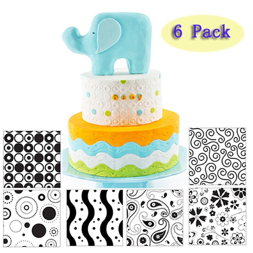(Set of 6)Cake Fondant Impression Mat Mould,Modern Style Theme,Flower Vine Texture, Snowflakes Texture, Circles Texture, Waves Texture Fondant Imprint MatsCake Decorating Supplies Decoration Tools Sakolla