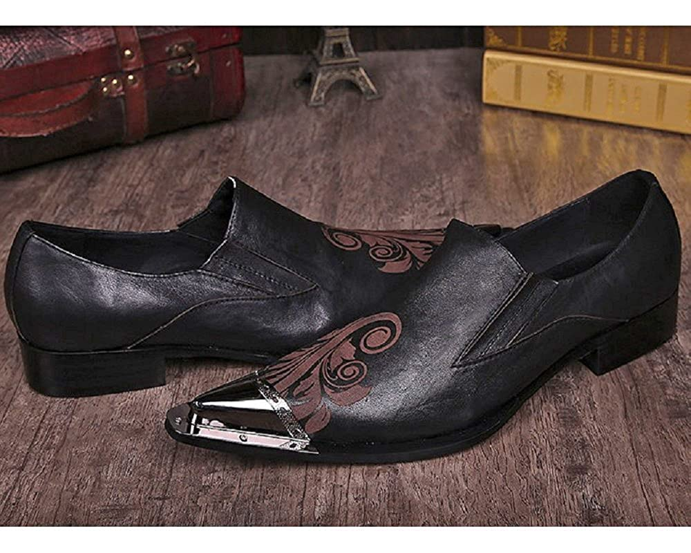 Cover Plus Size 5-12 Black Genuine Leather Slip On Dress Loafers Steel Pointed Toe Mens Shoes