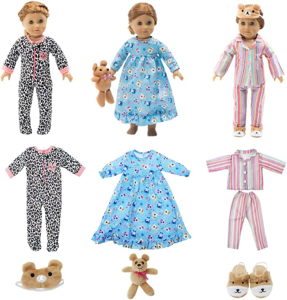 "18 Inch Doll Clothes - Value Bundle-Set of 3 Doll Pajamas with Accessories, Fits 18"" American Girl Dolls"