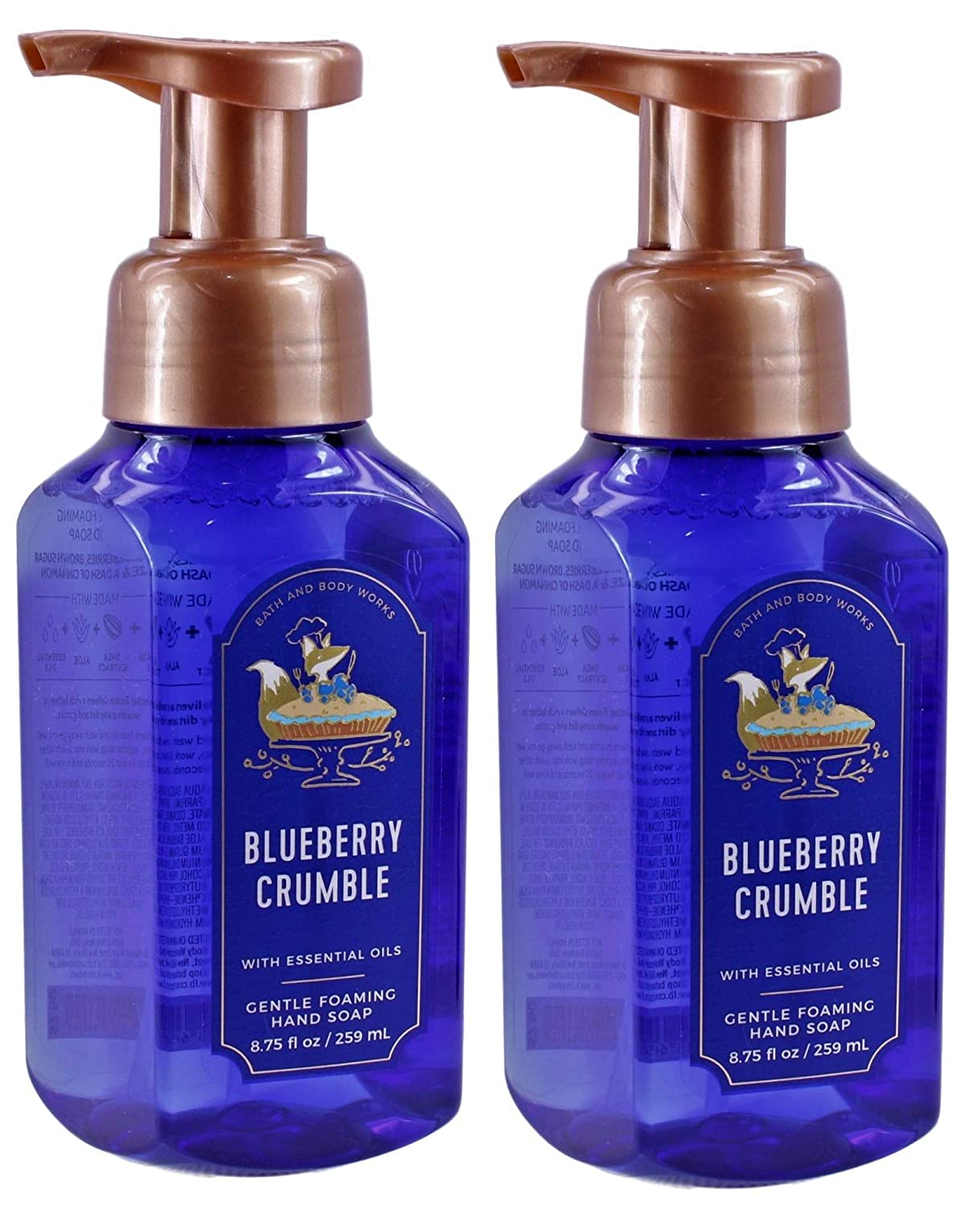 White Barn Bath and Body Works Blueberry Crumble 8.75 ounce (2 Pack) Gentle Foaming Hand Soap
