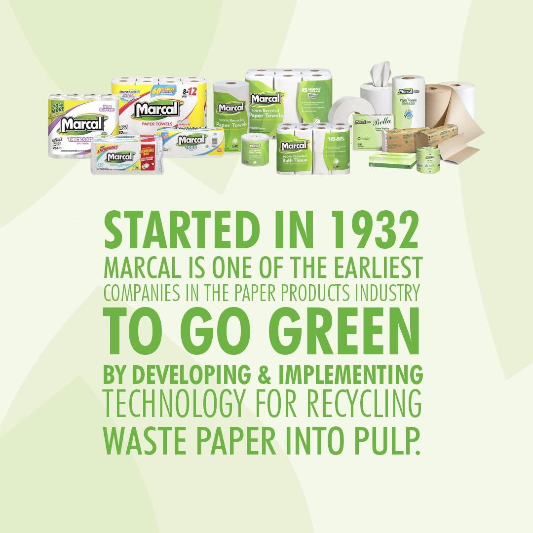 Marcal Paper Towels 100% Recycled 2-Ply, 60 Sheets Per Roll - Case of 15 Individually Wrapped Green Seal Certified 06709,White: Sports & Outdoors