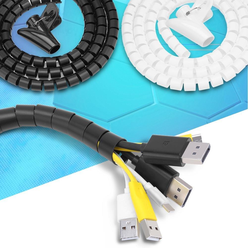 Bewinner Tubo Espiral Flexible Organizador de Cables Envoltura de Alambre Protector de Alambre Tubo de Almacenamiento Espiral Tubo con Clip para organizar y Proteger cableado