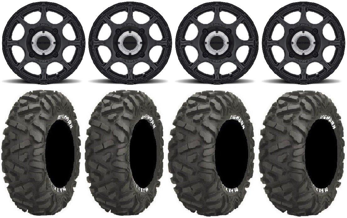 Bundle - 9 Items: Method 408 15'' Bk (5+2) Wheels 26'' BigHorn Tires [4x156 Bolt Pattern 12mmx1.5 Lug Kit]