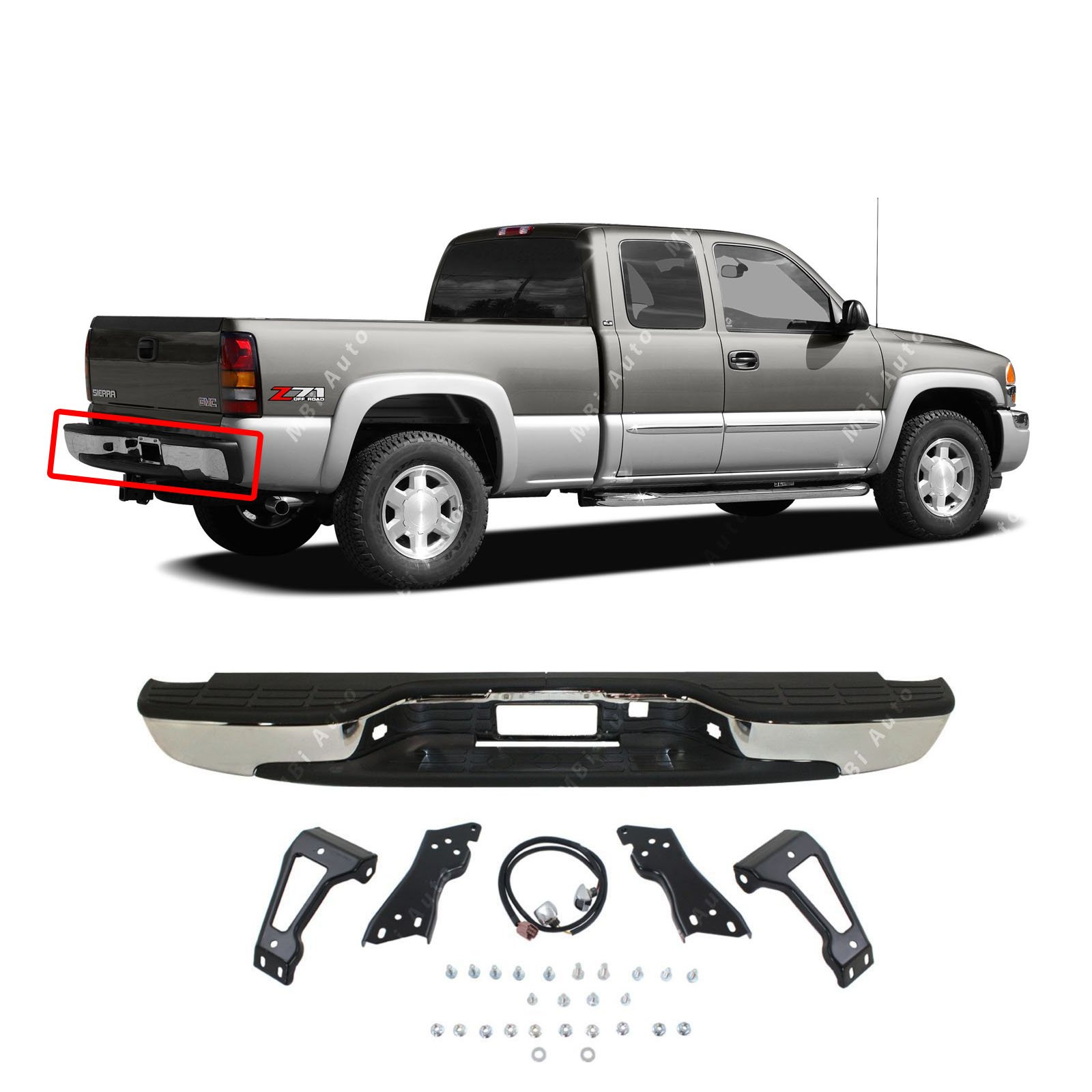 MBI AUTO - NEW Complete Chrome Rear Step Bumper Assembly For 1999-2006 Chevy Silverado GMC Sierra 1500 Truck GM1103122