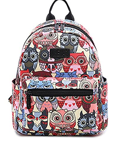 26dabd3cf0 Smilecoco Girls Cute Owl Pattern Canvas Purse Backpack Shoulder School Bag
