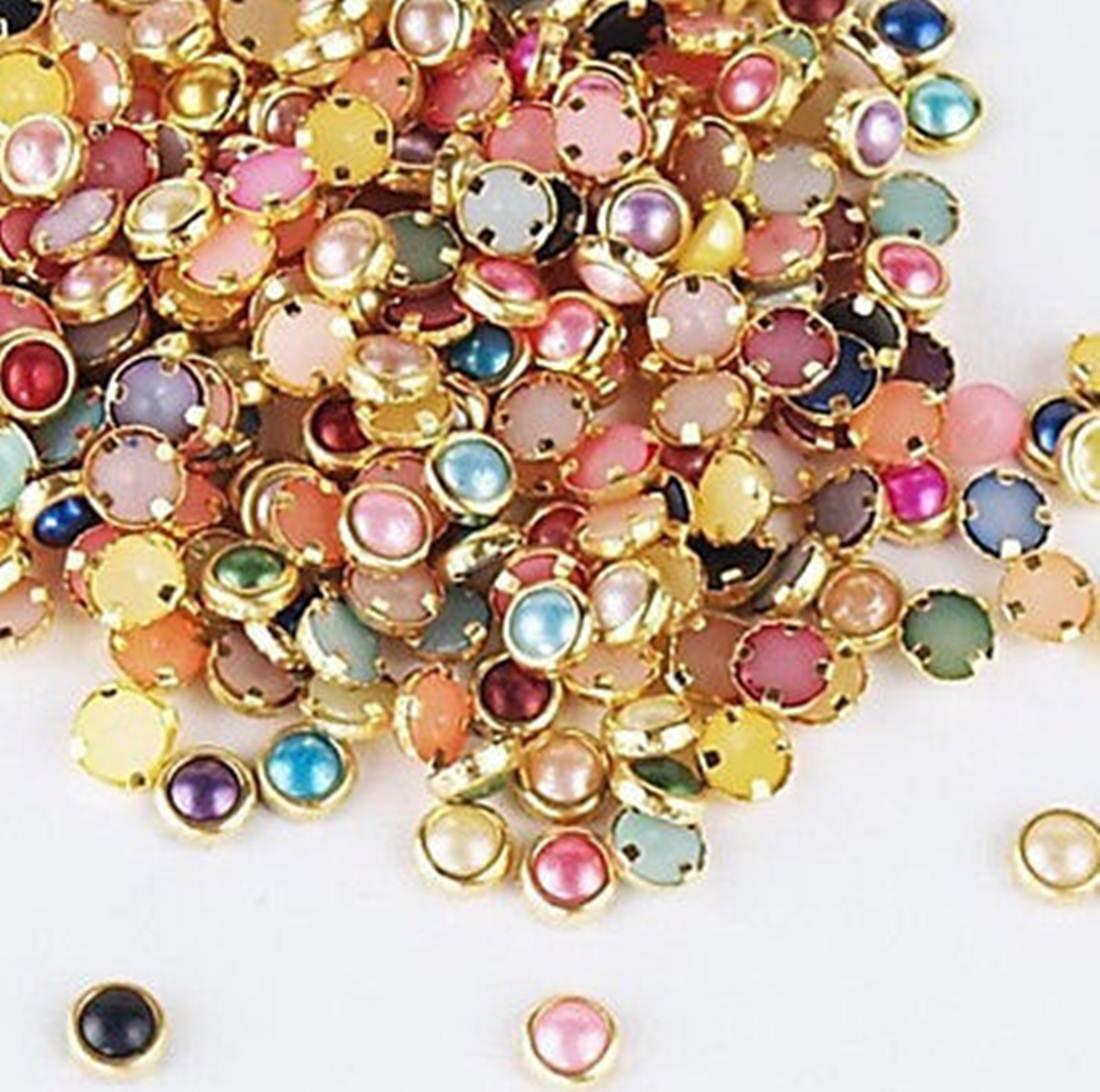 120 PcsDelicate Popular 3D Alloy Pearls Studs Random Mixed Nail Art Cellphone Decor Manicure Accessory Salon Supplies Multi-Color Pearls by GrandSao