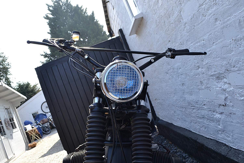 6  Faro per Progetto Motocicletta Cafe Racer Retro Scrambler Nero Griglia Rete Cromata Corona H4 55W