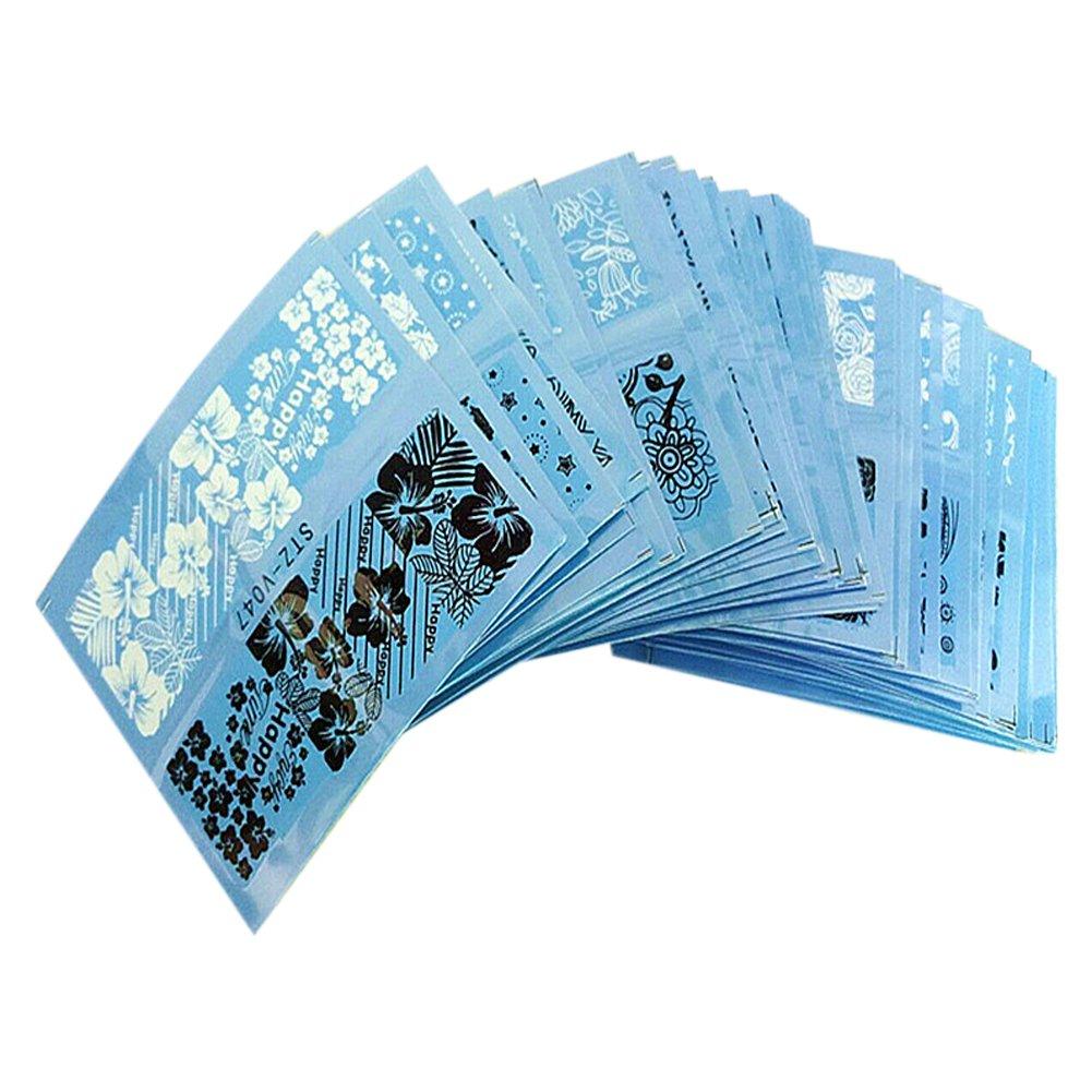 Chinatera 48 Sheets Water Transfer Sticker Black White Lace Nail Art Decals Manicure