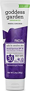 product image for Goddess Garden - Facial SPF 30 Mineral Sunscreen Lotion - Sensitive Skin, Reef Safe, Sheer Zinc, Water Resistant, Vegan, Leaping Bunny Certified Cruelty-Free, Non-Nano - Travel Size 3.4 oz Tube