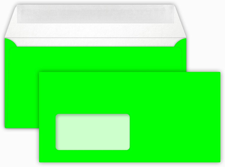 50 Briefumschl/äge NEON Green Din lang 11 x 22 cm mit Haftstreifen,mit Fenster Grammatur 90 g//m/²