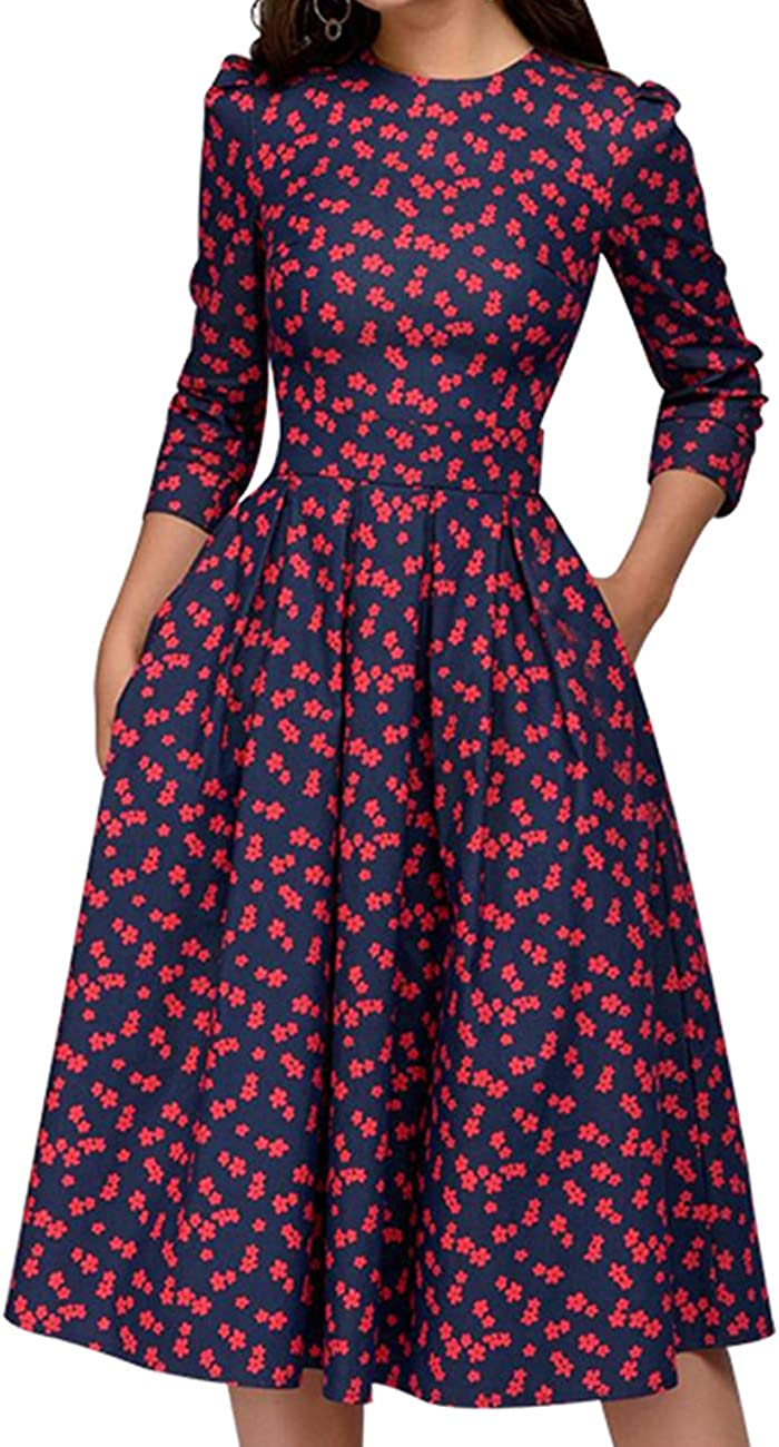 Simple Flavor Women's Floral Vintage Dress Elegant Midi Evening Dress 3/4 Sleeves: Clothing