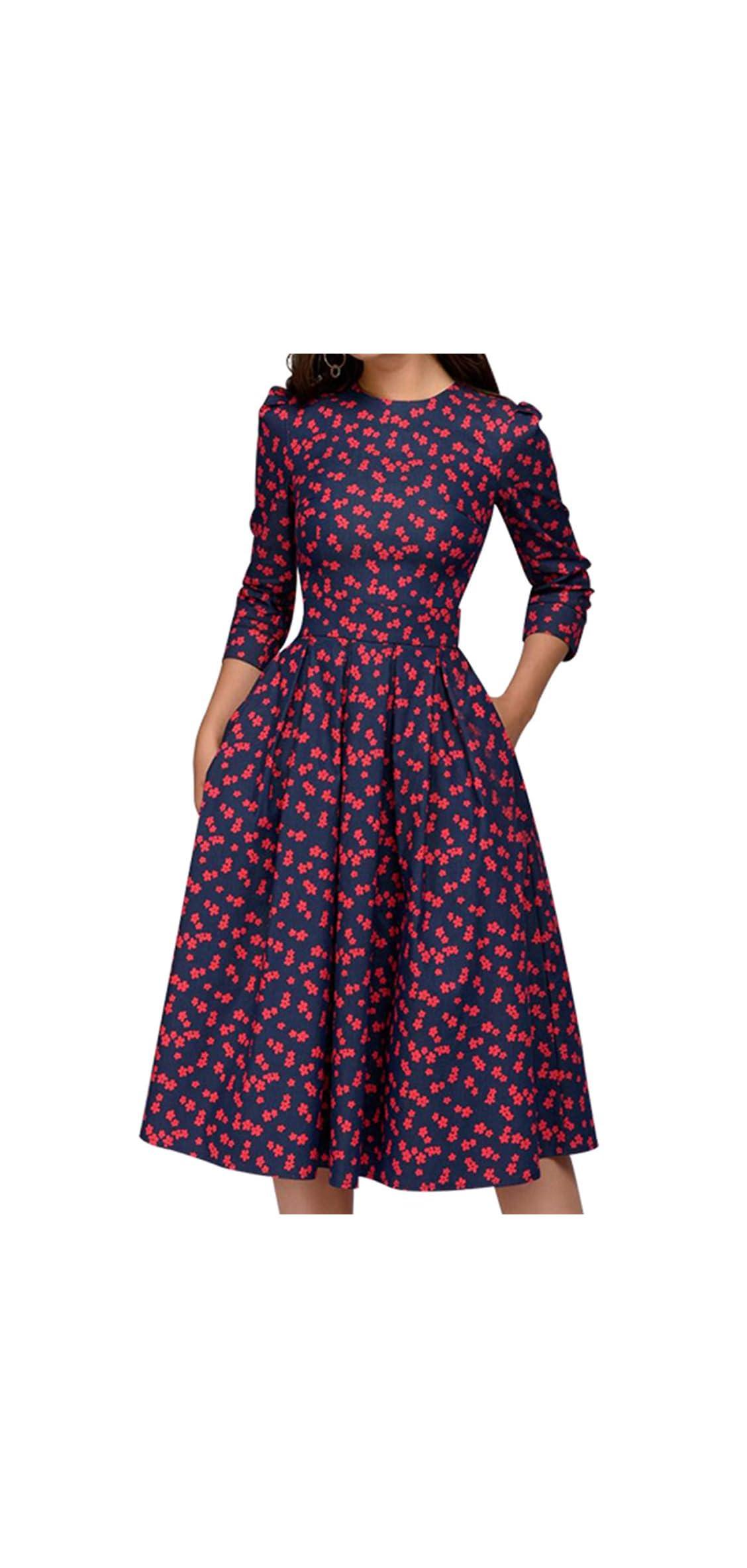 Women's Floral Vintage Dress Elegant Midi Evening
