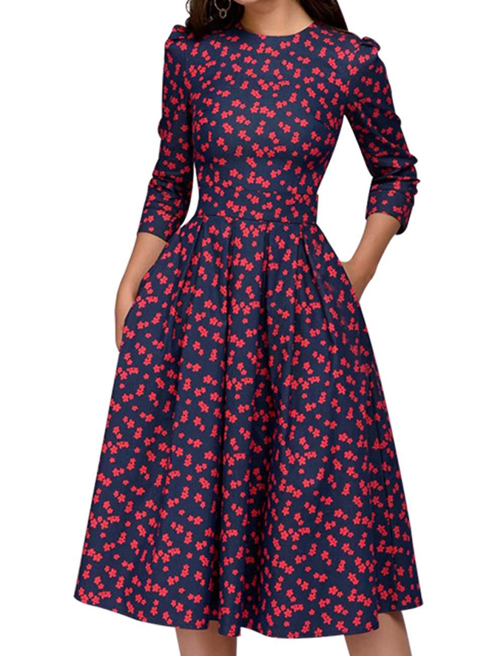 Simple Flavor Women's Floral Vintage Dress Elegant Autumn Midi Evening Dress 3/4 Sleeves (Red,L)