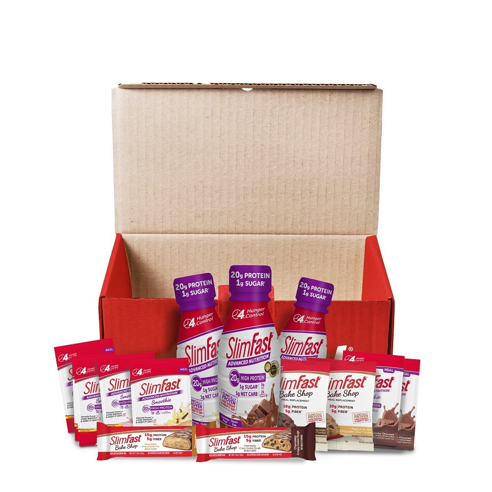 SlimFast The 7-Day Quick Start Kit, 14 Meal Replacement Assortment - High Protein Shakes and Smoothie Mixes, Bars and Cookies by SlimFast
